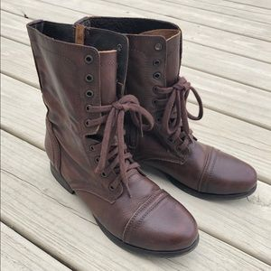 Steve Madden Troopa Combat Leather Boots W 9.5M